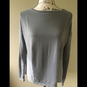 NICOLE MILLER SWEATER WITH CHIFFON AND DIAMANTÉ